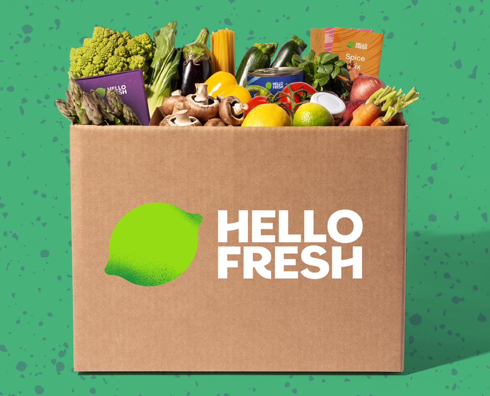 a hello fresh box with food insid
