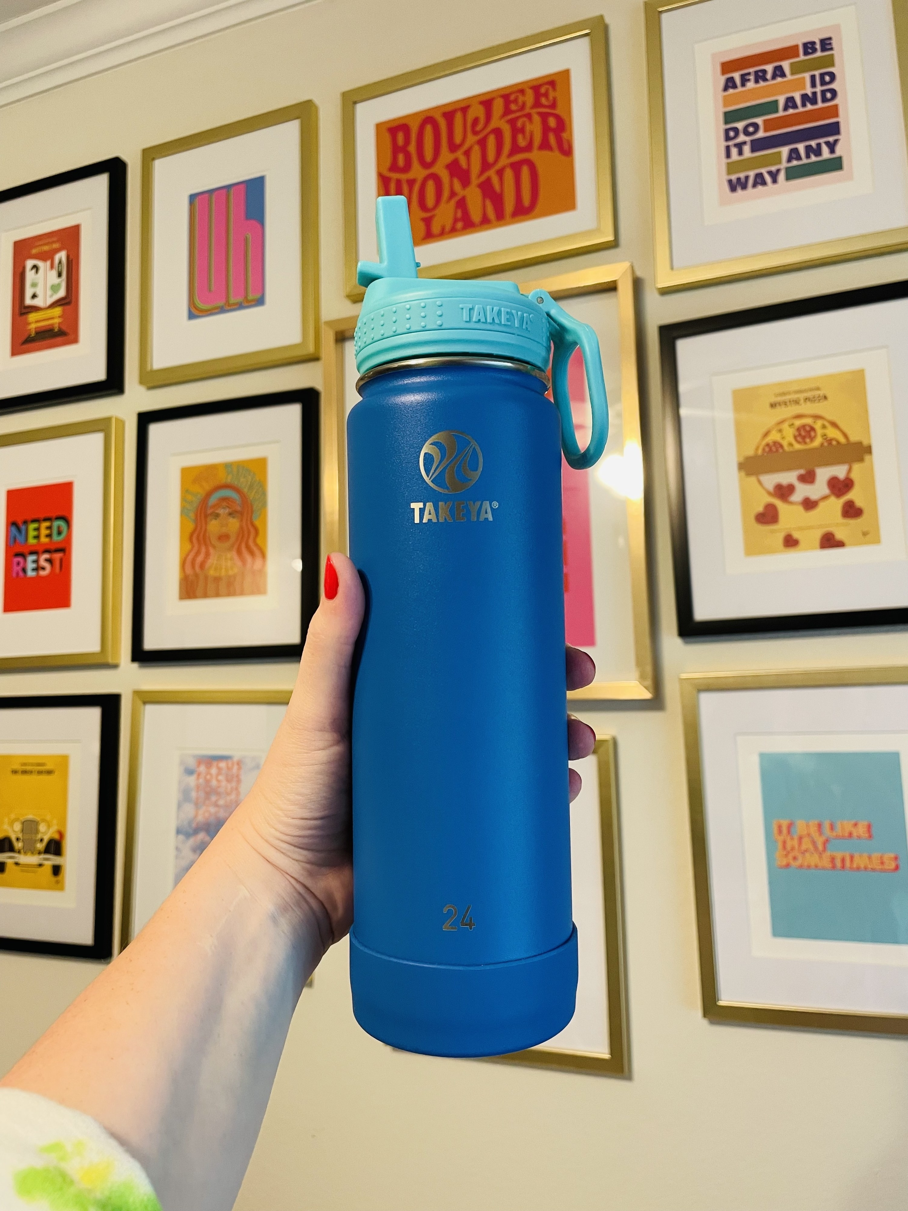 writer's Blue and teal 24 ounce Takeya water bottle