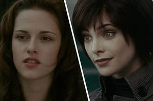 Bella Swan looks off into the distance with her mouth slightly open and a close up of Alice Cullen as she looks at someone off screen.