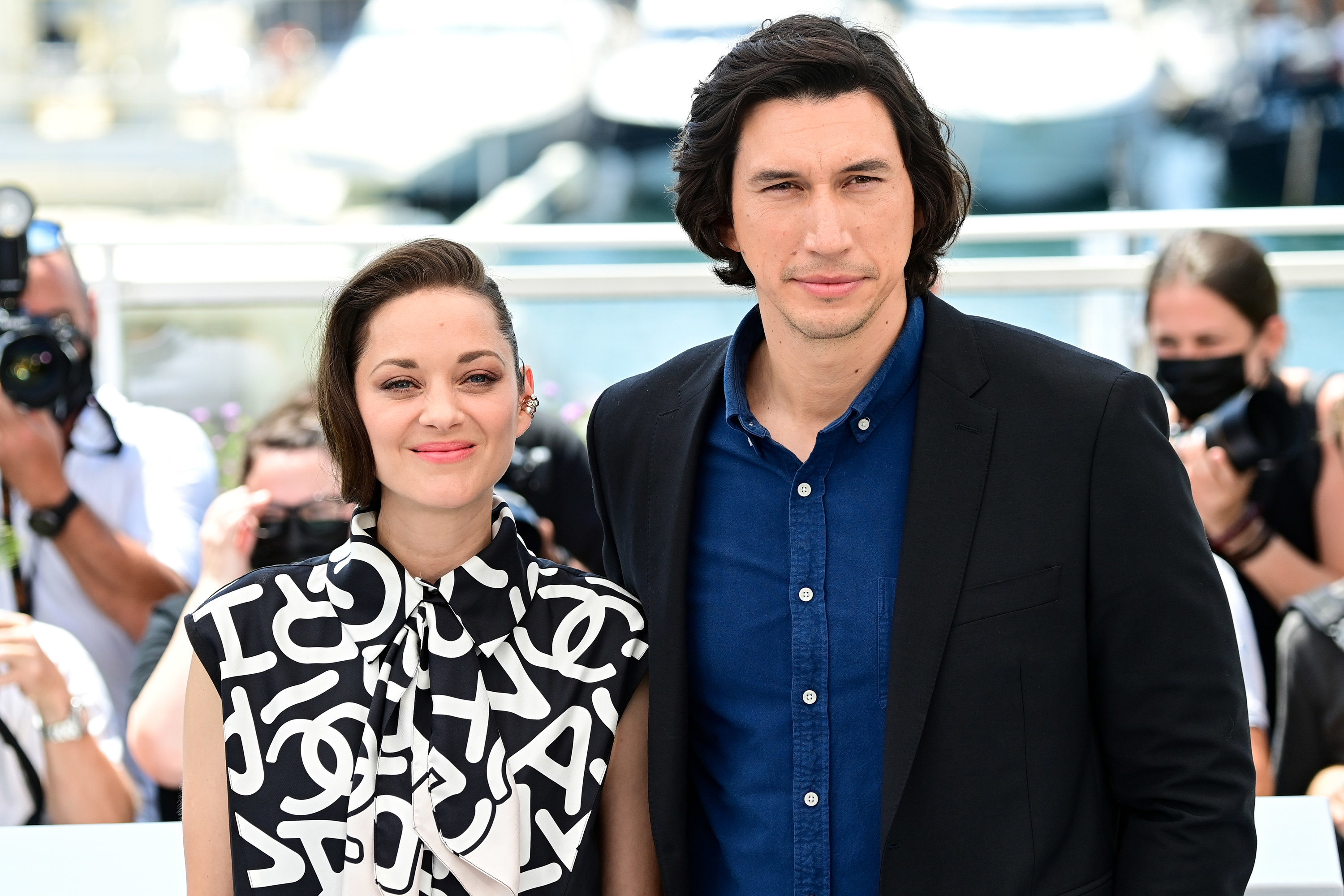 """Adam Driver and Marion Cotillard are photographed before the """"Annette"""" premiere at the Cannes Film Festival"""
