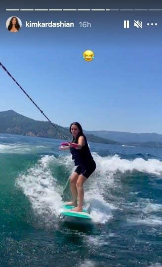 Kim Kardashian wakeboarding