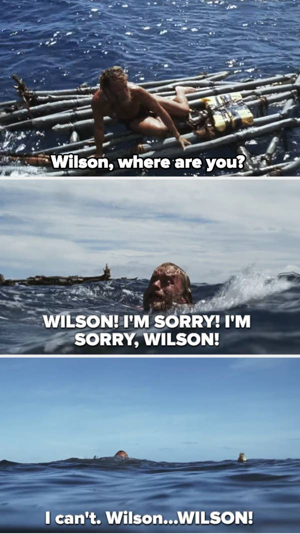 Chuck realizes Wilson is missing, dives for him, but doesn't reach him in time