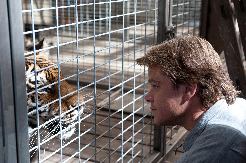 Matt Damon staring down a tiger