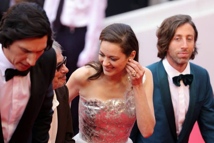 """Adam Driver, Leos Carax, Marion Cotillard, and Simon Helberg at the """"Annette"""" premiere"""