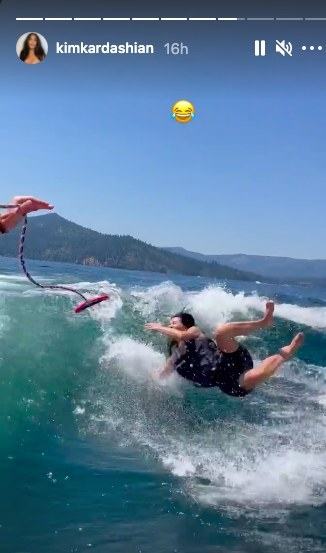 Kim Kardashian wipes out while wakeboarding