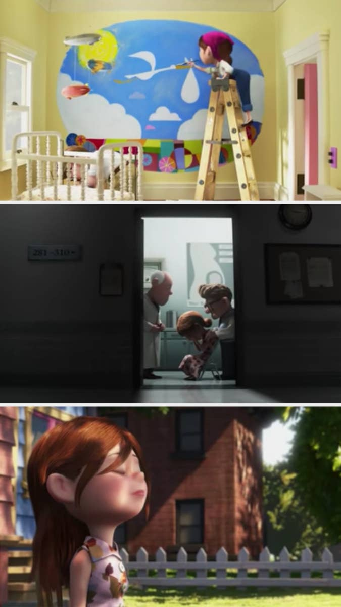 The characters in Up design a nursery, only to discover they've lost the baby