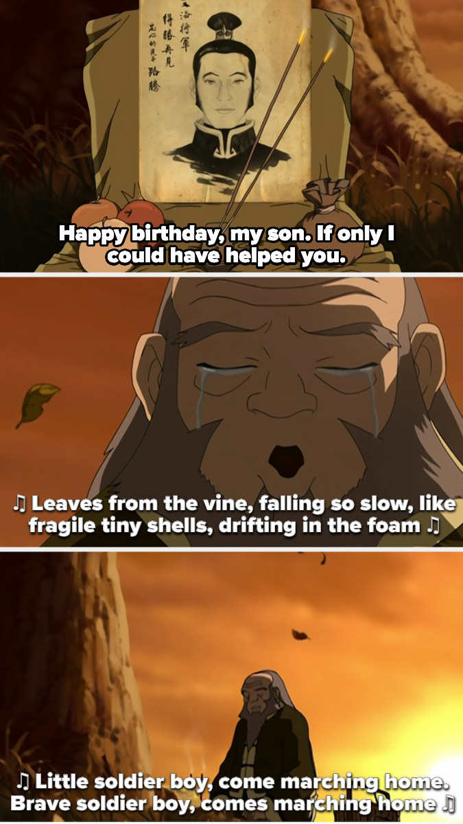 Uncle Iroh makes a shrine for his son, wishes him happy birthday, and sings the little soldier boy song