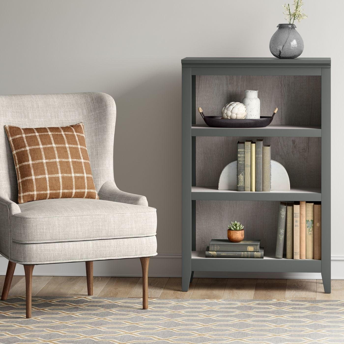 The bookcase in gray