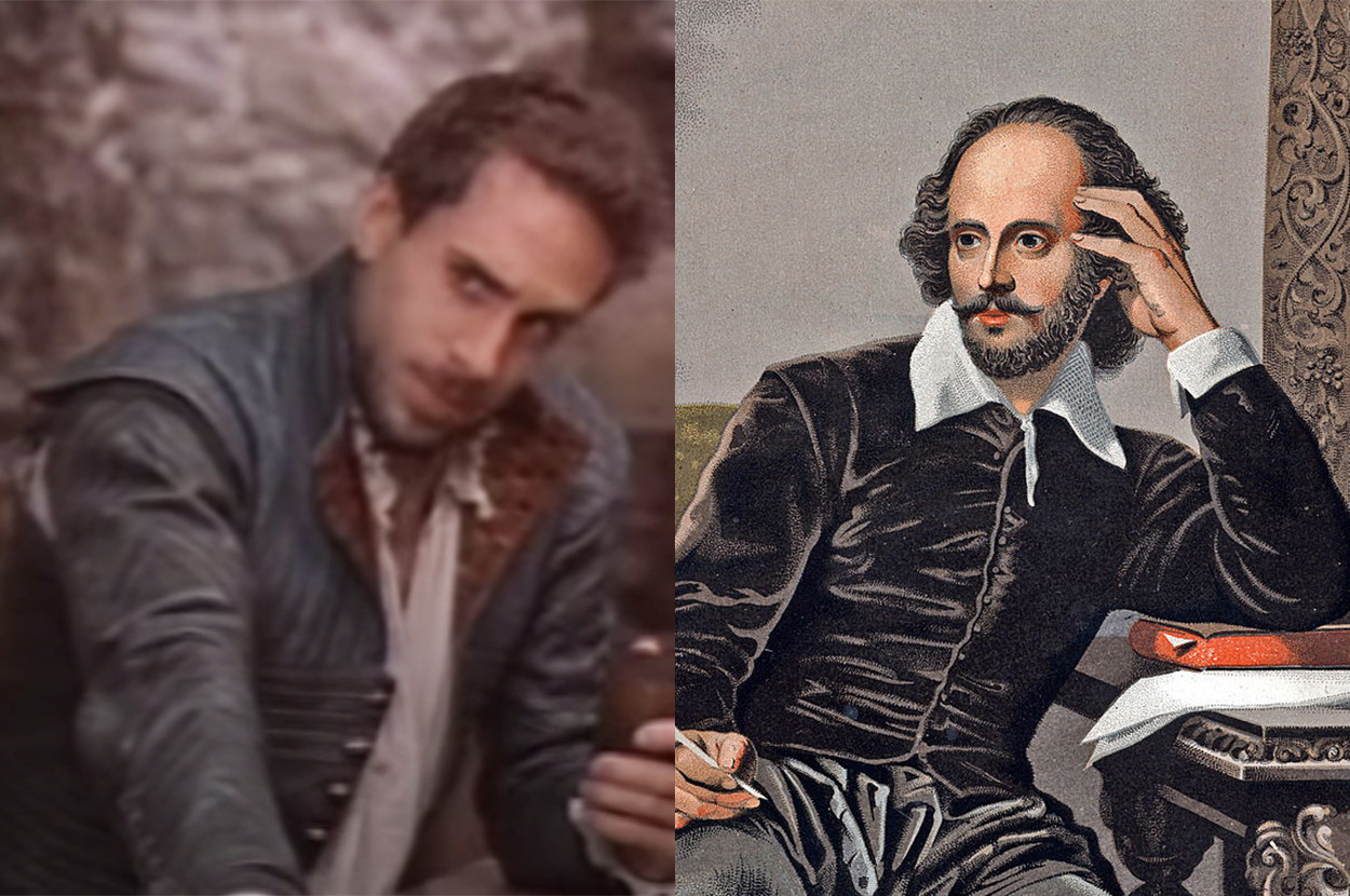 In the movie, he wore a leather jacket, but in the portrait, he has a velvet shirt