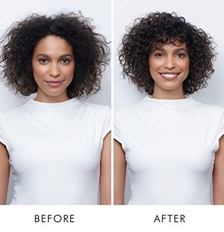 A model with undefined curls before using the product / A model with clearly defined curls after using the product