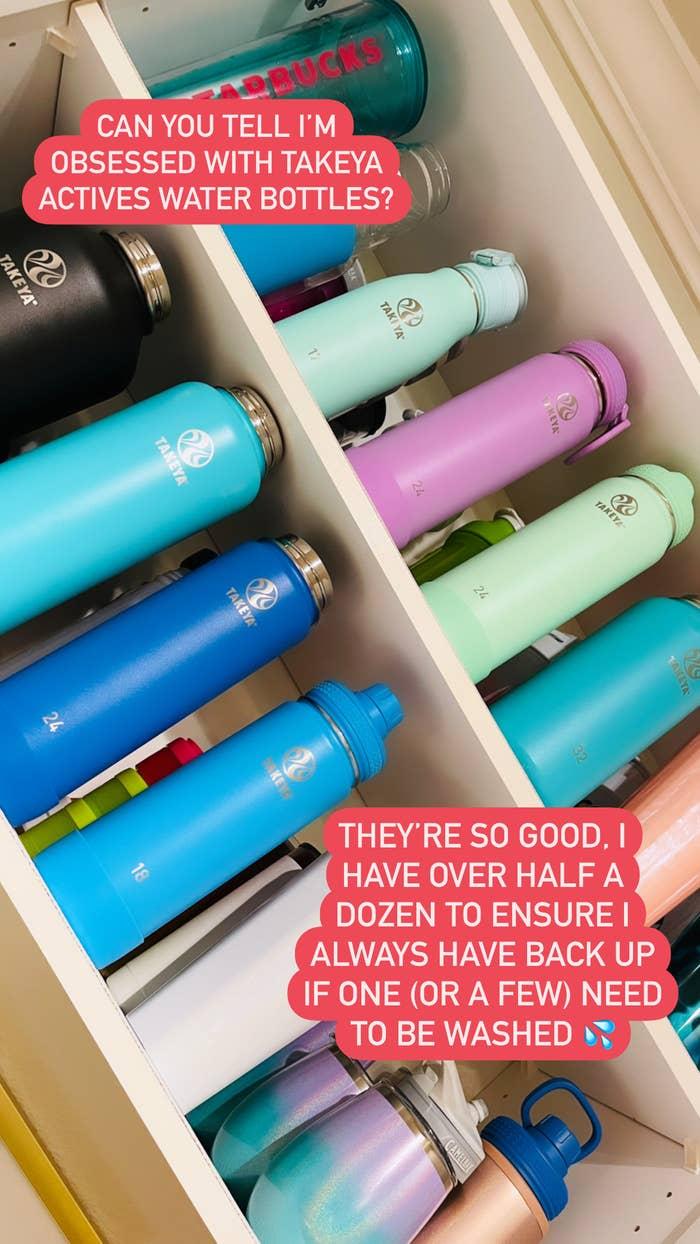 Cabinet full of Takeya water bottles