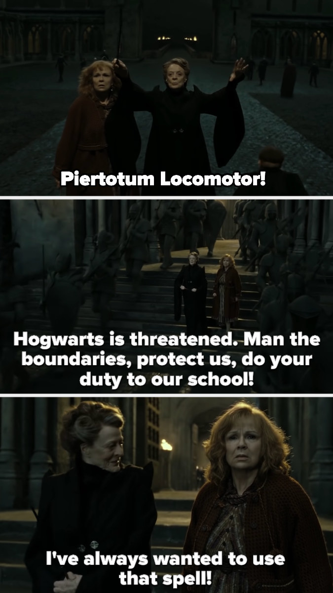 McGonagall activates the statues and sends them to protect Hogwarts