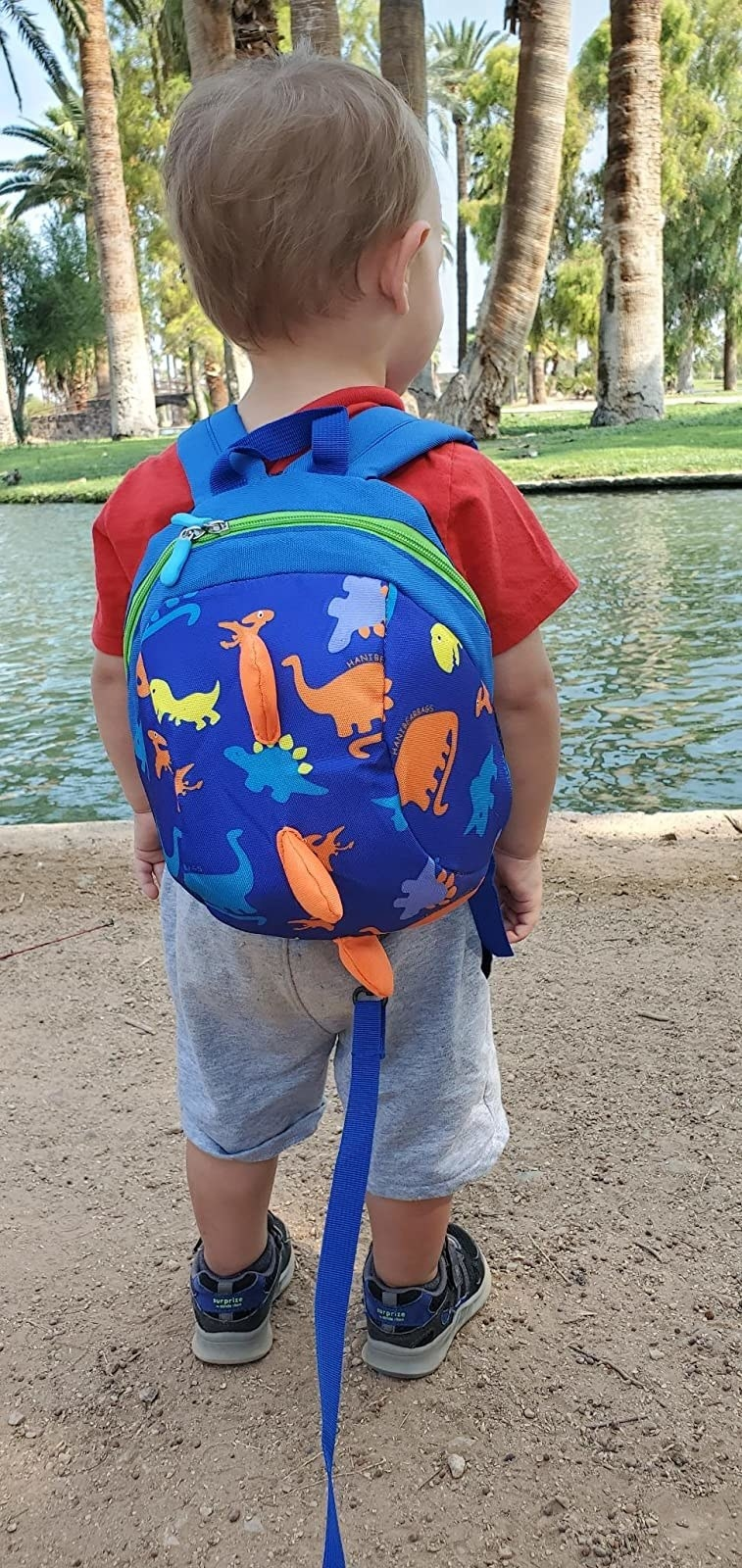 Reviewer's photo showing a child wearing the backpack in blue with a leash