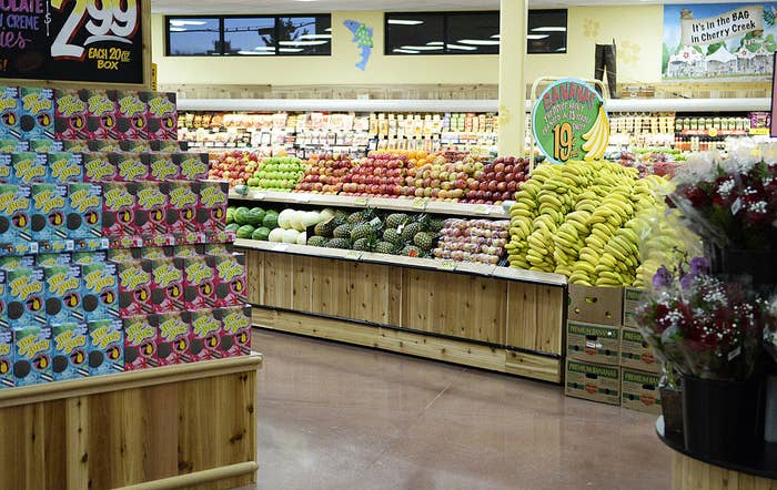 An interior shot of a Trader Joe's grocery store.