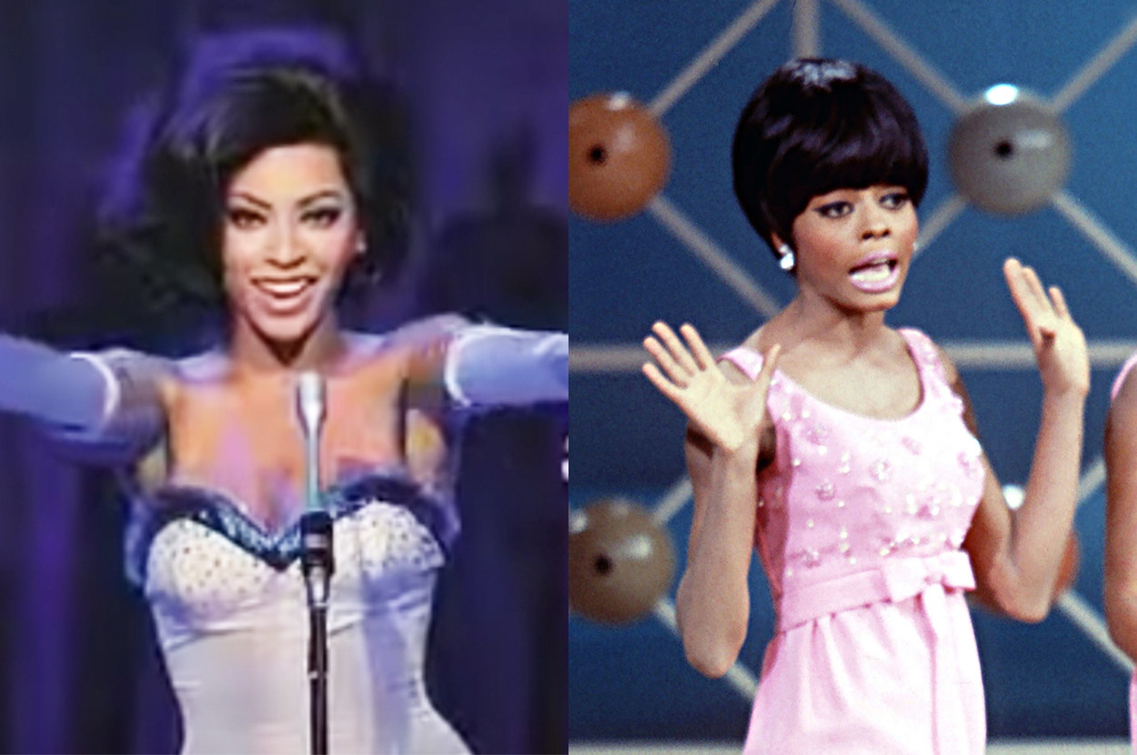 """the """"Dreamgirls"""" costume Beyoncé wore had a sweetheart neckline, whereas Diana Ross's dress had a scoop neckline and a bow"""