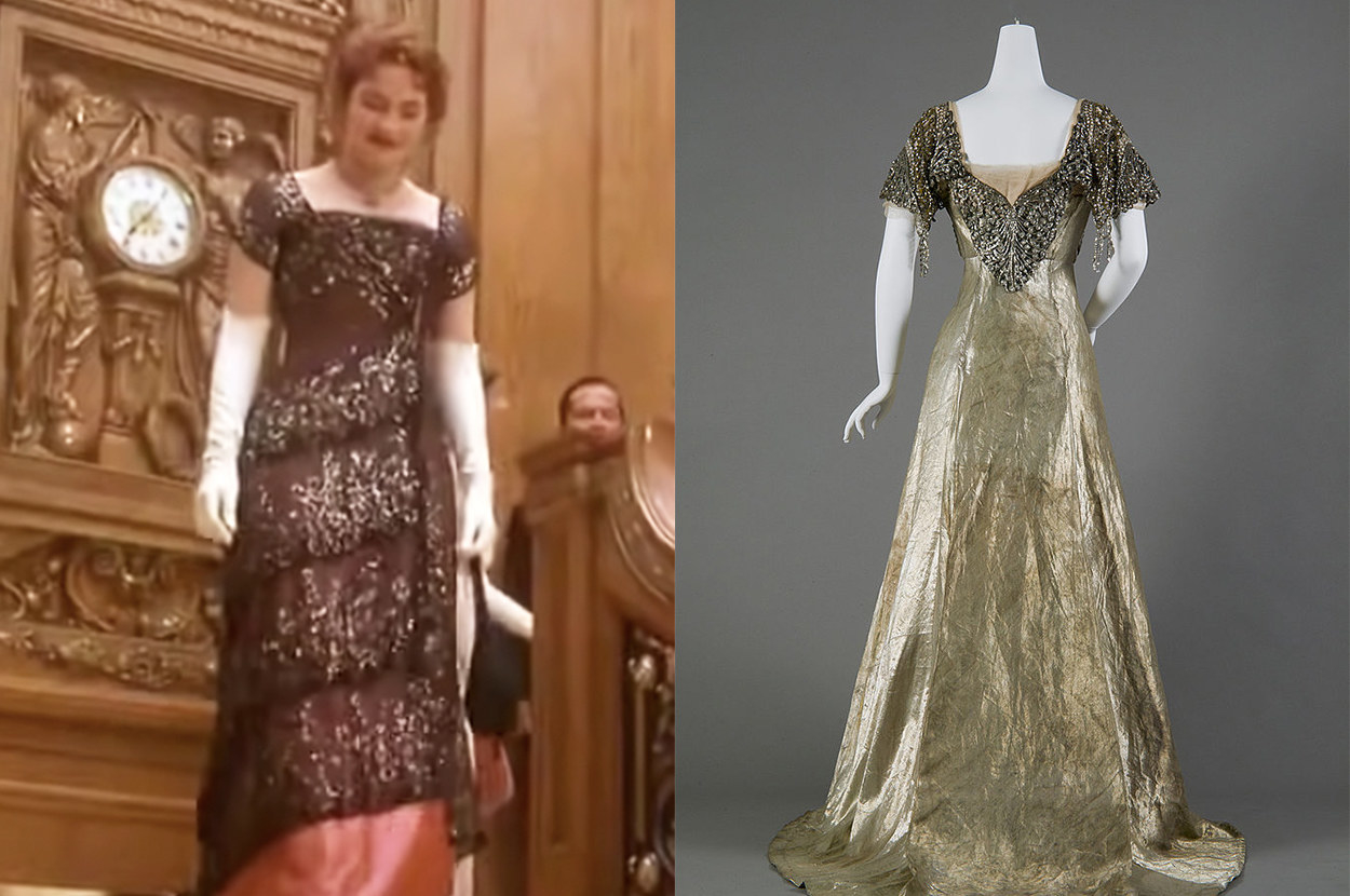 Rose's dress is sheer with cap sleeves, and the real dress is metallic with short sleeves