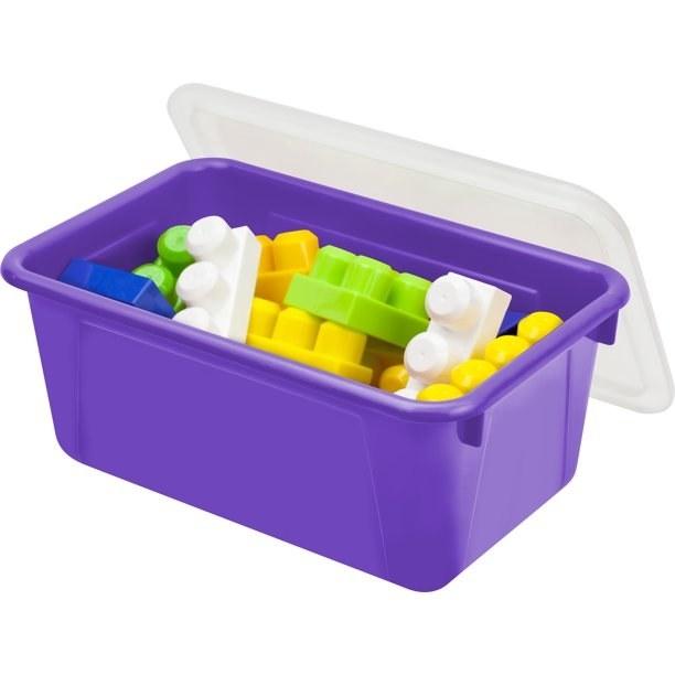 A purple storage bin with children's blocks inside