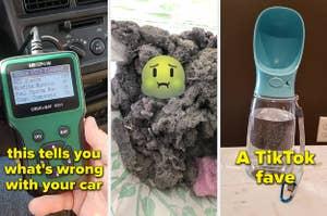 car diagnostic pile of lint portable pet water bowl