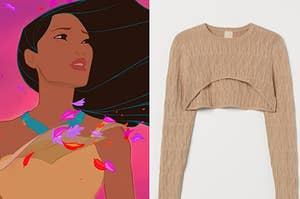 Pocahontas is on the left with a sweater on the right