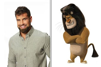 Blake Moynes from The Bachelorette, and the lion from Madagascar