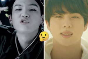side by side images of Suga and Jin from BTS with a thinking face emoji between them