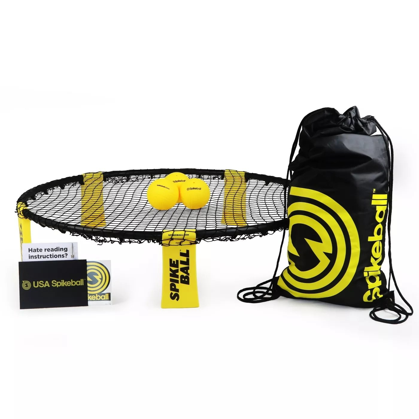 The Spikeball set has balls, a drawstring bag and and a net