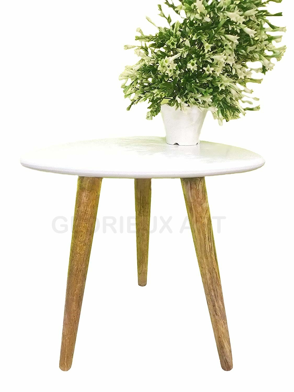 A tripod side table with wooden legs and a white top