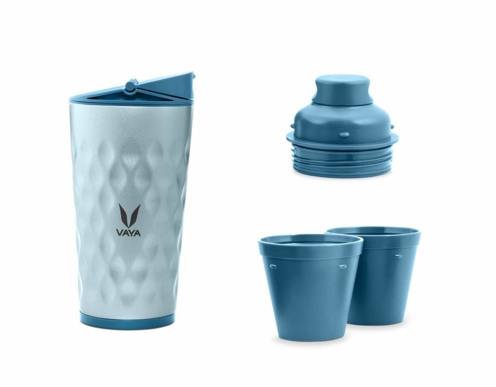 A metallic blue stainless steel tumbler with two cups and a sipper.