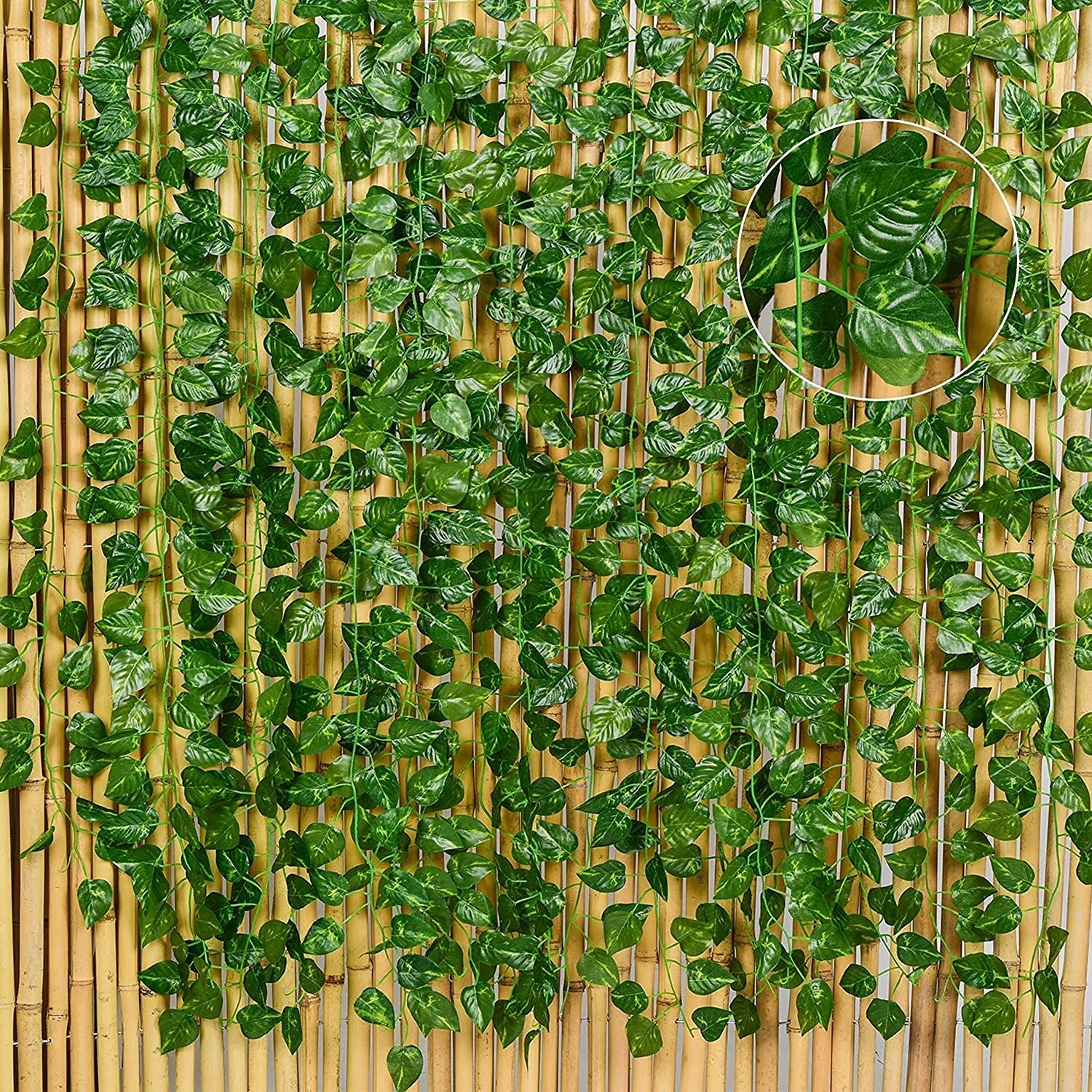 Artificial ivy against a wooden background