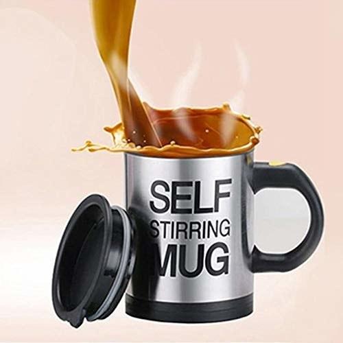 A self-stirring mug with coffee.