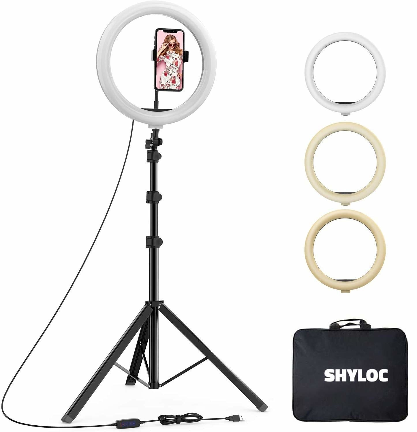 The ring light with a tripod and mobile holder, and three different light settings.