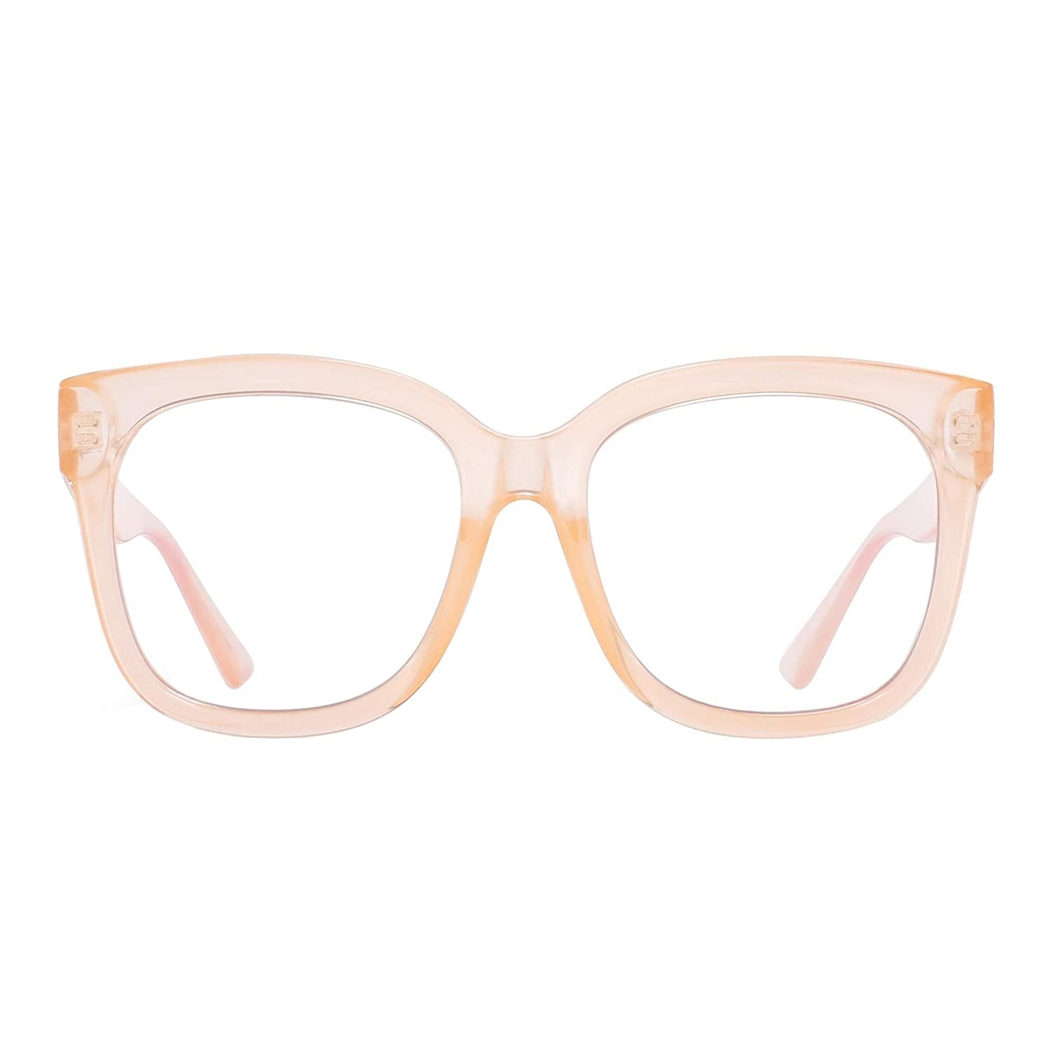 A pair of glasses with a transparent peach frame.