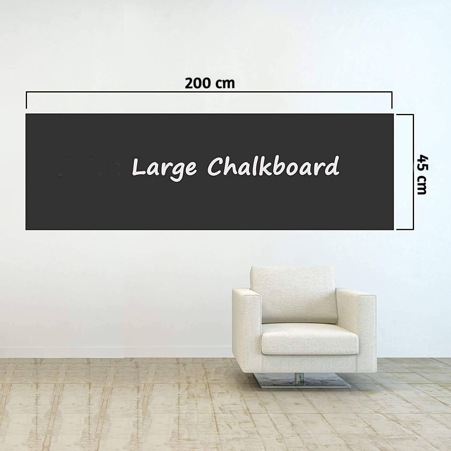 A 200x45 cm chalkboard decal on a white wall.