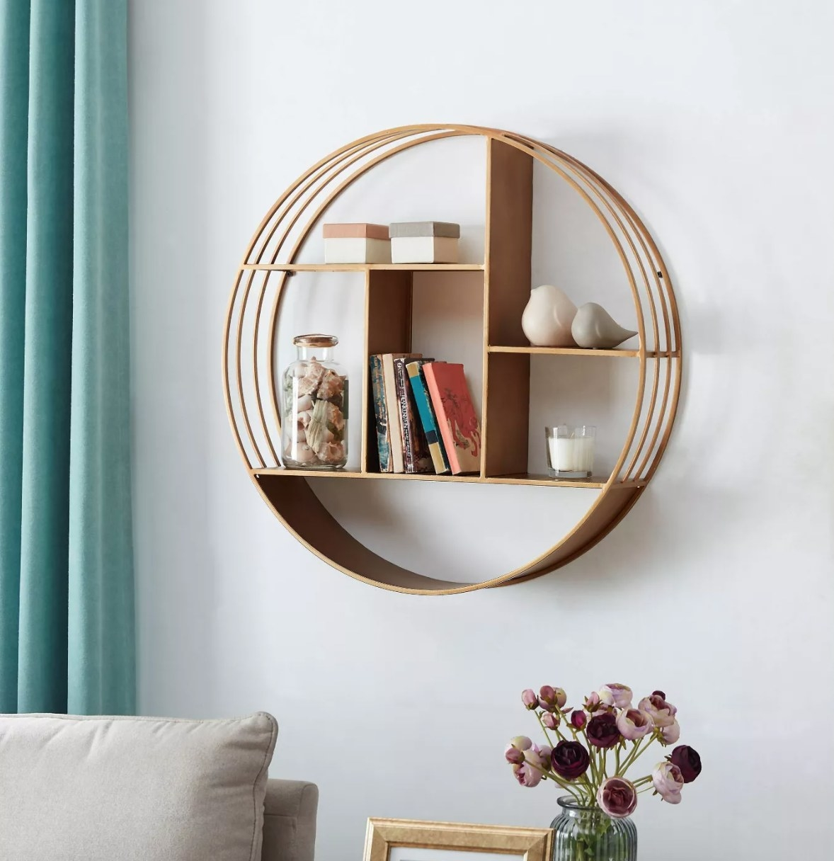 light brown round wall mounted shelving unit