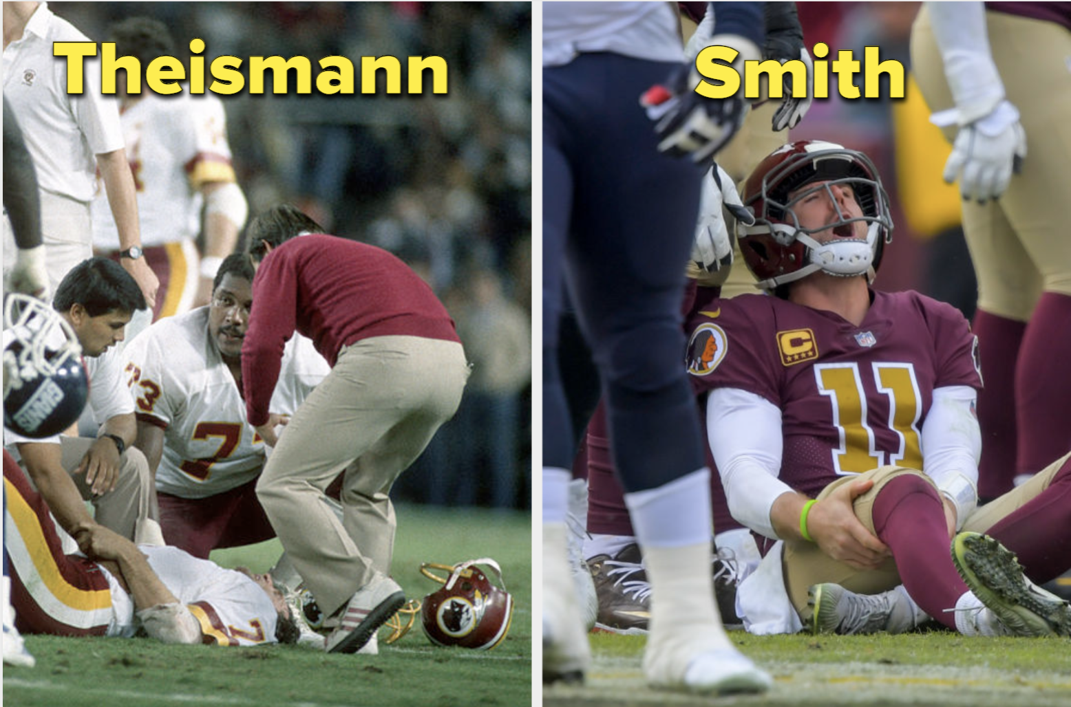 Side-by-side images of Joe Theismann and Alex Smith both injured on the field