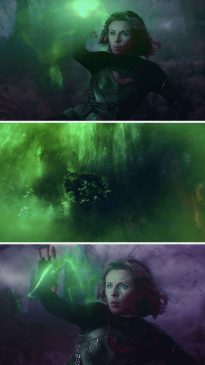 Sylvie, while running inside the Alioth's smoke, puts her hands up to make some green magic and sees a whole world