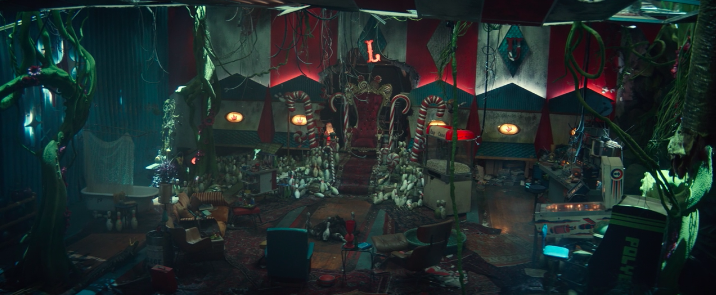 A room in the vault with candy canes around a throne