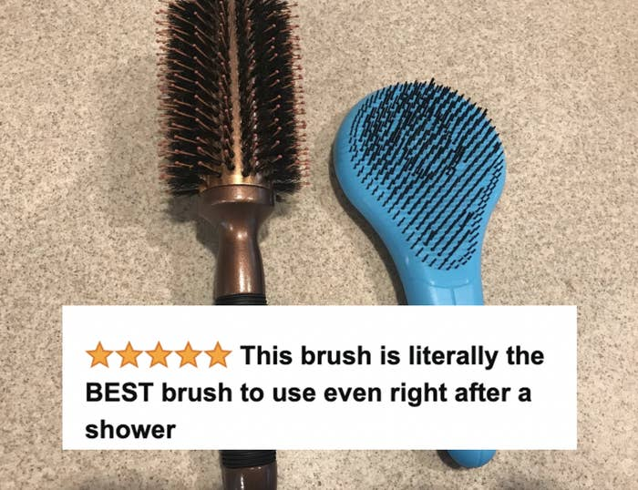 reviewer image of blue hairbrush with screenshotted review headline on top
