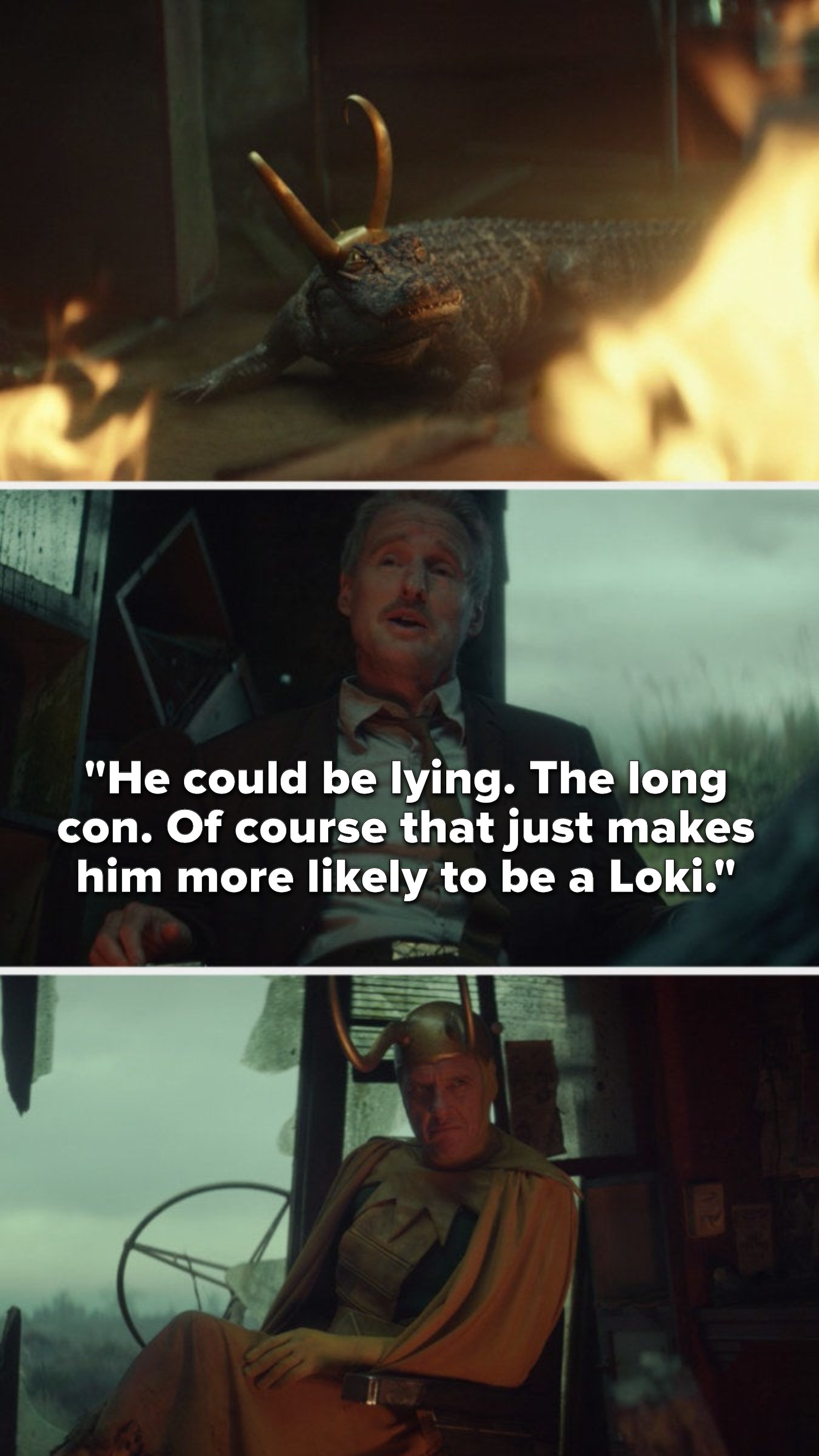 """We see the alligator and Mobius says,""""He could be lying, the long con, of course that just makes him more likely to be a Loki,"""" and Richard E Grant makes an interested face"""