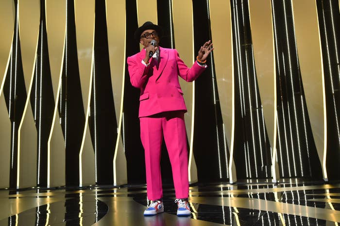Spike Lee speaks onstage at the Cannes Film Festival's opening ceremony