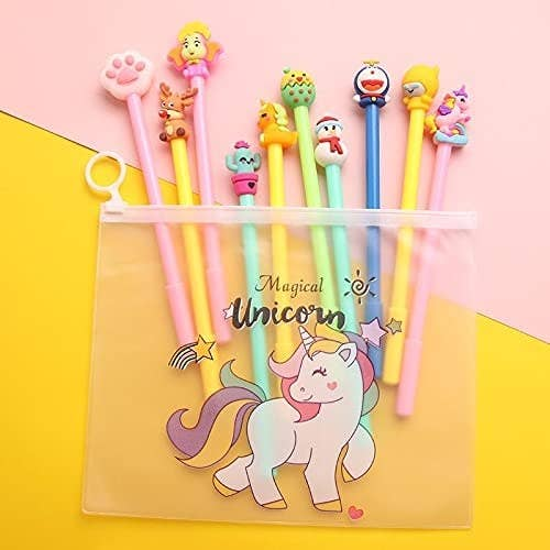 Colourful pens with cartoon character toppers, kept in a unicorn pouch