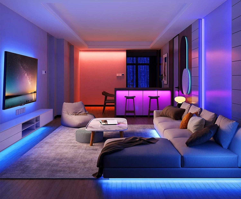 A room illuminated with strip lighting