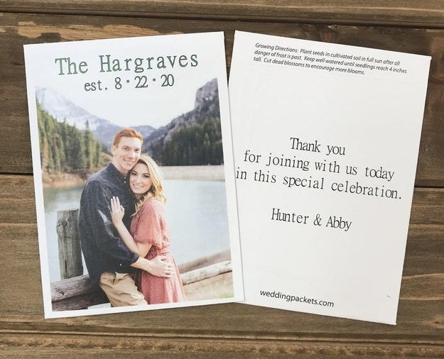 front and back of a seed packet with a picture of a couple and a note of thanks to guests