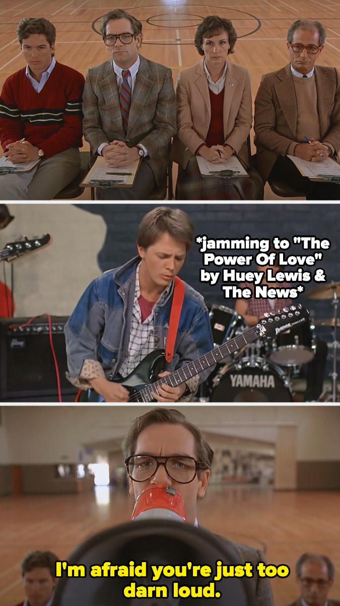 """Huey Lewis telling Marty McFly's band, """"I'm afraid you're just too darn loud"""""""