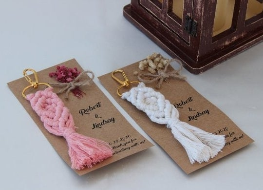 macrame keychain favors in pink and white