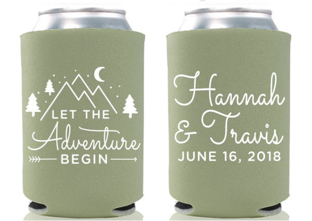 a green can cooler with front and back designs that say the couple's name and let the adventure begin