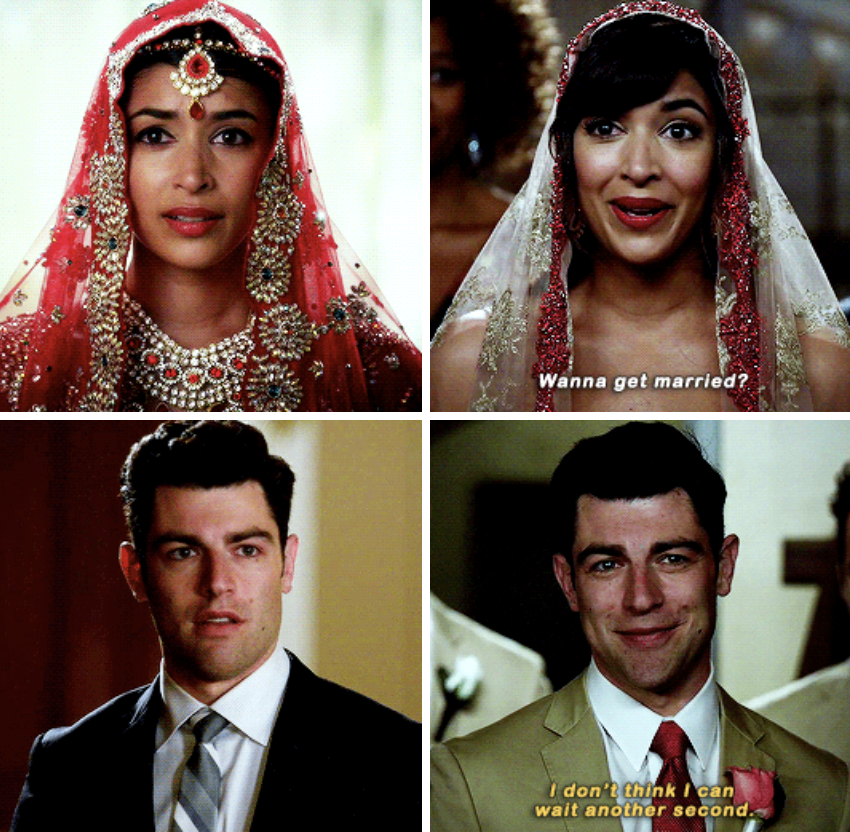 """Schmidt looking at Cece on her wedding day earlier in the series; Cece asking Schmidt if he wants to get married later in the series, and him responding with: """"I don't think I can wait another second"""""""