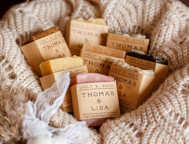 a handful of custom wedding favor soaps
