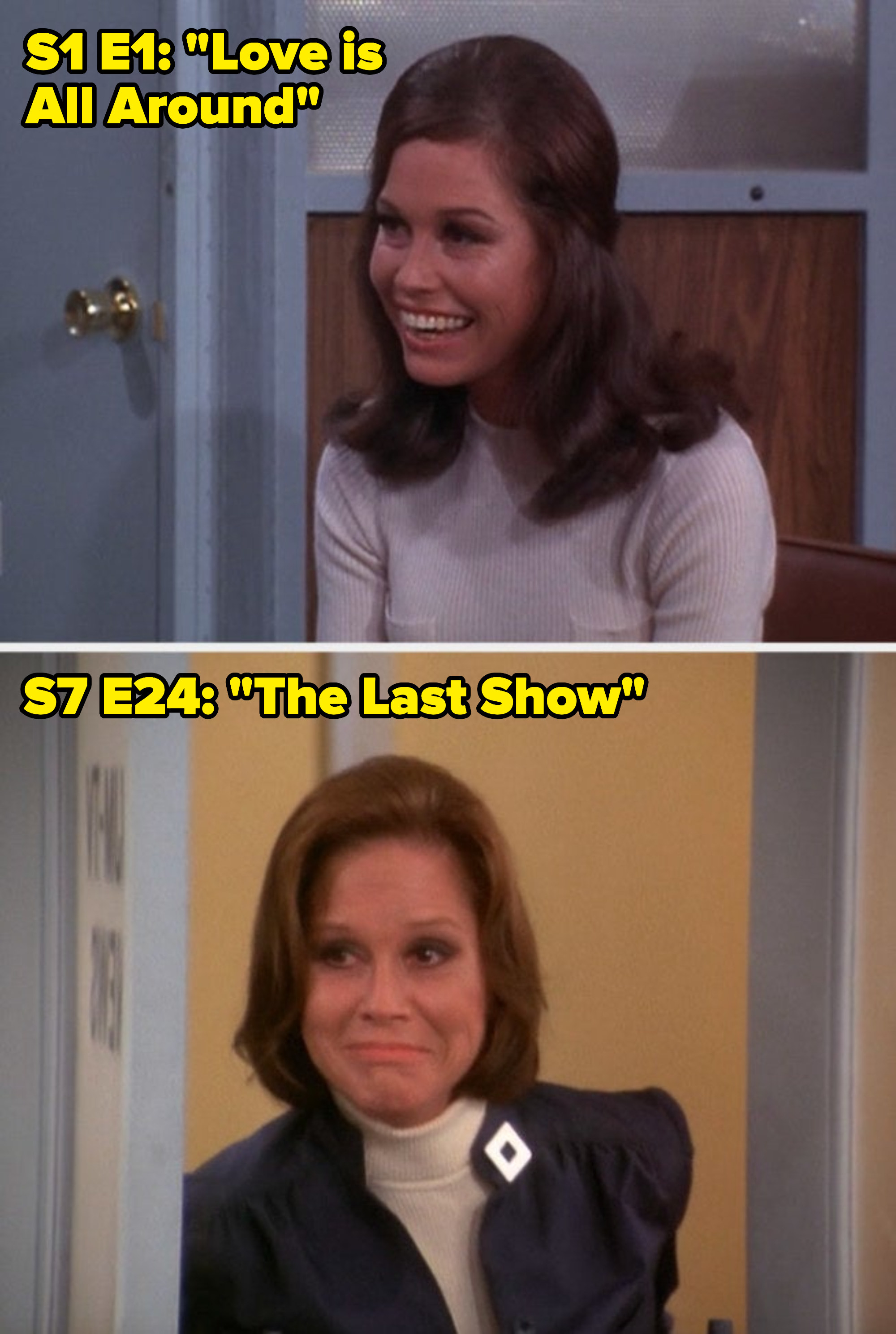 """Mary Tyler Moore in the first vs. last episode of """"The Mary Tyler Moore Show"""""""