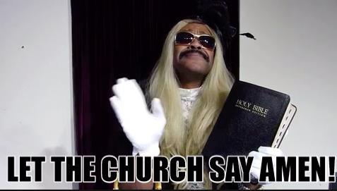 "Person going to church saying, ""Amen"""